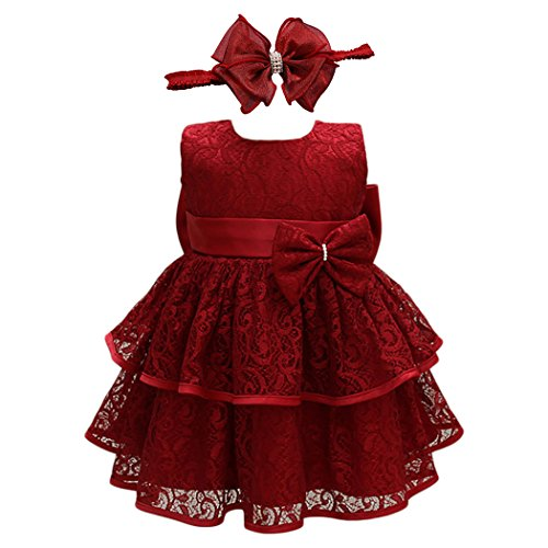 Glamulice Baby Girl Lace Party Dress Christening Baptism Girl Dresses Pageant Birthday Formal Gown, Red (6M / 6-12 Months, Red-2pcs)