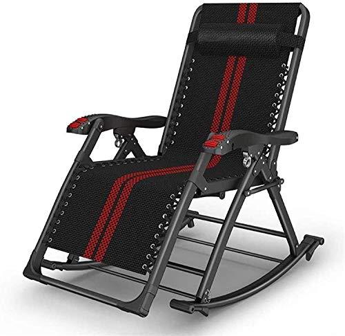 N/Z Home Equipment Lightweight Sun Lounger OutdoorZeroGravity Garden Rocking Chair Folding Recliner Adjustable Sun Lounger Rocker Seat (Color: Black+red) (Color: Black+red) (Color : Black+red)