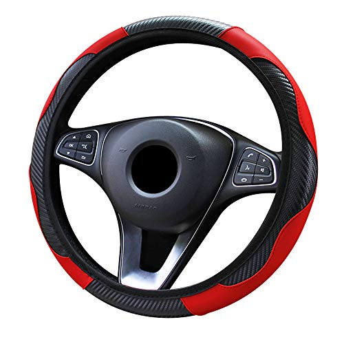 Xmomx Steering Wheel Cover Microfiber Leather Anti-Slip Universal Car Steering Wheel Cover Faux Leather no Inner Ring for Car Accessories Auto Car Without Inner Ring (Red)