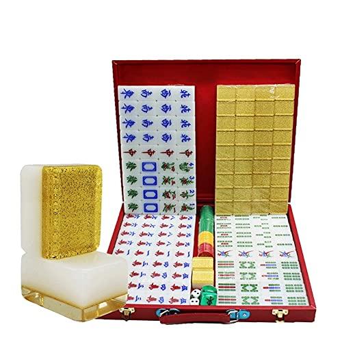 LYLY Mahjong Mahjong - Juego de 144 azulejos Mah-Jong con caja para viaje juego familiar