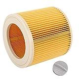 Filtro de aspiradora, filtro de cartucho Pieza de aspiradora para Karcher A2004 A2054 A2204 A2656 WD2.250 WD3.200 WD3.30 Filtro de polvo, polen u otros alérgenos