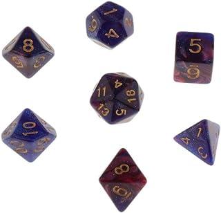 koolsoo D4 D6 D8 D10 D12 D20 Polyhedral Dice Set for RPG Games - Blue Purple, 10-25mm