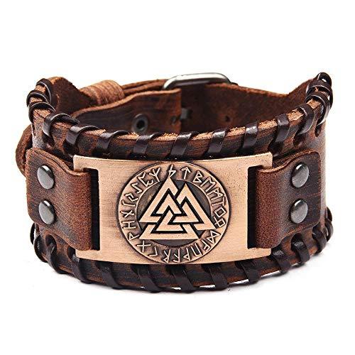 Herren Leder Armreif - Viking Odin Triangle Knoten 24 Amulett Runen, Breites Manschettenarmband Verstellbares Armband, Nordischer Keltischer Heidnischer Talisman Schmuck,Messing