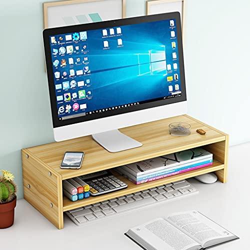 Soporte de elevación de monitor de madera ajustable, escritorio 2 nivel de pie de computadora con almacenamiento de teclado, plataformas de oficinas de sujeción portátil, soportes y estantes