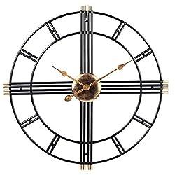 PUMERIT Wall Clock Modern Metal Big Wall Clock 23.6 Inch Handmade Silent Not-Ticking Indoor Clock for Living Room Hotel Restaurant Decoration