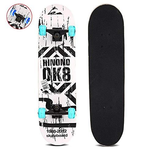 Sumeber Skateboard Komplettes 31 Zoll Double Kick Skateboard mit blinkenden Skateboards für Anfänger Kinder mädchen Junge Jugendliche und Erwachsene