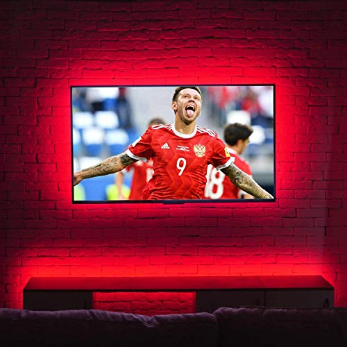 HAMLITE USB LED TV Backlight for 32-65 Inch TV Bias Lighting, TV Light Strip With Remote Behind TV Lighting, 16 Colors, Sync ON/OFF With TV