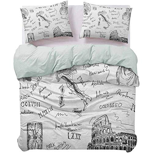 UNOSEKS LANZON Kids' Quilt Set Ancient Roman Period Icons Caesar Colosseum Gladiator and Map Sketch Art Spring Duvet Cover No Rips or Discoloration Black and White, Queen Size