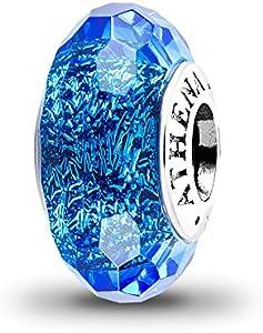 charm cristal de murano facetado iridescente