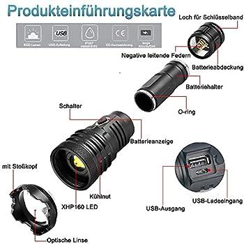 XHP160 Lampe de poche LED rechargeable USB ultra lumineuse 10000 lm LED IPX67 étanche rechargeable zoom torche pour camping, randonnée et utilisation d'urgence (batterie 21700)