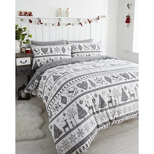 Noel Quilt Duvet Cover 2 Pillowcase Bedding Bed Set Christmas Trees, Grey, Super-King