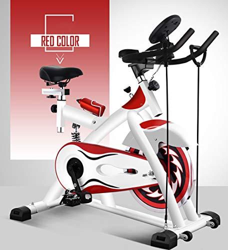 YANGSANJIN hometrainer, hometrainer, fluisterstille indoor sports fitnessapparatuur genieten van de gym-ervaring thuis (kleur: wit en rood)