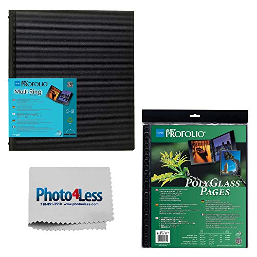 Itoya ProFolio Multi-Ring Refilable Binder 9x12 11 sheets/22 views + Itoya ProFolio PolyGlass Pages 9'x12' 10 sheets + Cleaning Cloth