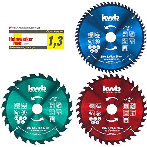 kwb Kreis-Sägeblatt-Set 210 x 30/20 / 16 mm für Handkreis-Sägen bzw. Tischkreissägen, f. Platten-Werkstoffe u. Baustoffe aus Holz inkl. Reduzier-Ringe auf 16 u. 20 mm