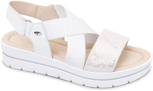 Vallevert Chaussures Femme Sandales en Cuir Blanc 32332-BIAN