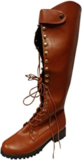 Wllsagl Xouwvpm Retro High Tube Boots,Womens Leather Lace Up Round Toe Platform Shoes Over The Knee High Knight Boots