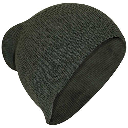 Générique Hommes Femmes Floppy Beanie One Size Chapeau-Olive