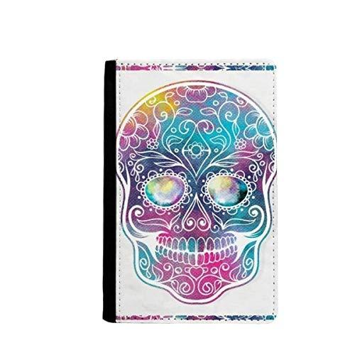 beatChong Blume Cirrus Bunte Schädel-Illustration Pass-Halter-Reise-Brieftasche Abdeckungs-Fall Karten-Geldbeutel