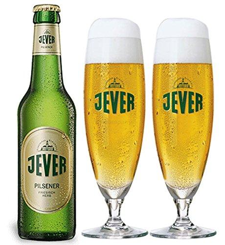 Jever Pilsener Bier 0,33l (4,9% Vol) + 2x Gläser Pokalgläser -[Enthält Sulfite] - Inkl. Pfand MEHRWEG