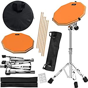 Practice Pad & Snare Stand Bundle - Drum Pad Double Sided with Drumsticks and Drum Stand for Four Inch Snare Drum With Two Different Surfaces for Drum Practice - Silent Drum Double Sided Practice Pad