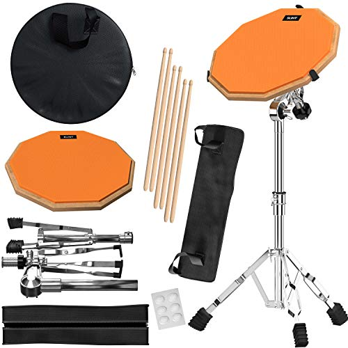Slint Drum Practice Pad & Snare Stand Bundle- 12 Inch Double Sided Silent Drum Pad with Drum sticks & Stand- 4 Inch Snare Drum with Two Different Surfaces- Drum Practice Pads for Drumming