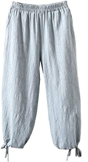 Women's Linen Pants Lantern Tapered Cropped Pants Jacquard Trousers with Pockets