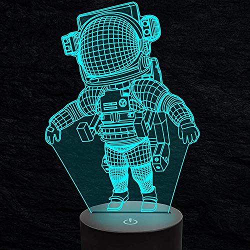 3D Ilusión óptica Lámpara LED Astronauta Luz de noche Deco 7 colores usb Decoracion Dormitorio escritorio mesa para niños adultos del partido cumpleaños Luces nocturnas de mesa