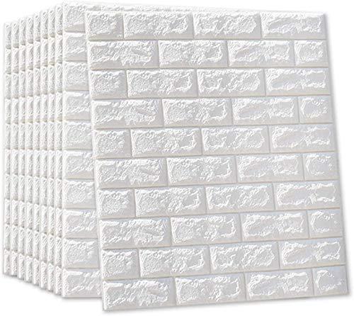 10 Stück 3D Tapete Wandpaneele Selbstklebend - 77 x 70cm Steinoptik Ziegel Tapete Wasserdicht Wandaufkleber für Wohnzimmer, Schlafzimmer, Moderne Hintergrund TV-Decor