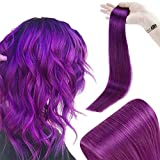 RUNATURE Tape In Hair Extensions Color Purple 12 Inches Skin Weft Purple Tape In Hair Extensions 100 Human Hair 20gram 10Pieces Tape Extensions Short Hair