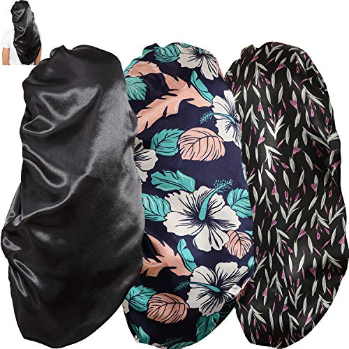 Soft Elastic Band Satin Bonnets for Women, 3 Pcs Silky Head Scarf Hair Wrap for Sleeping Curly Natural Long Hair by Wbfwbb