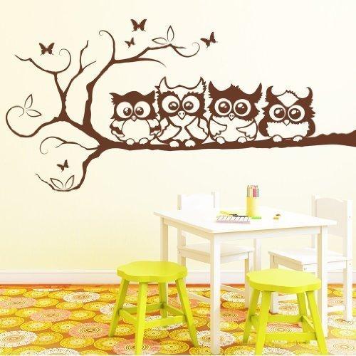 Wandtattoo-Loft Sticker mural Motif hiboux sur arbre