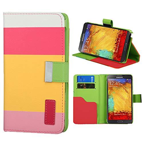 Roar Handyhülle für Sony Xperia Z3 Compact, Hülle Tasche Schutzhülle Klapphülle mit Magnetverschluss, Kartenfächer, Stand-Funktion - Pink Gelb Rosa