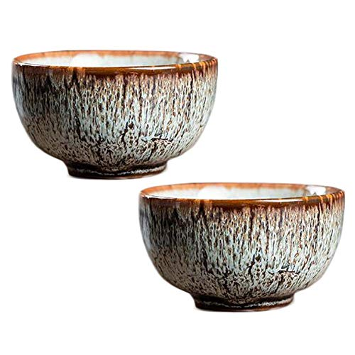 Pigeon Fleet 2,3 Unzen handgemachte Porzellan Teeschale chinesische Kung Fu Teetasse japanische Wein Tasse, 2 Stück Beige