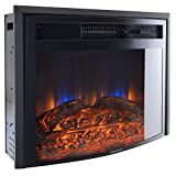 RecPro RV Fireplace 28' | 26' Cutout Size | Electric RV Fireplace | Curved Glass | Camper | Heater | Remote Included