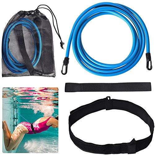 Lifella 水泳ベルト 超弾性ラテックスチューブ 水泳トレーニングチューブ スイミング練習用具 調節可能 スイミングトレーニングベルト 収納袋付き