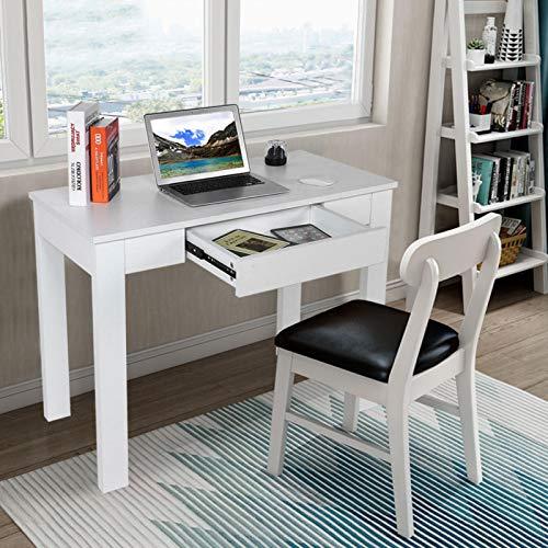 Wakects Escritorio para ordenador, oficina, mesa de ordenador, mesa de trabajo, mesa de estilo moderno, con cajón, para casa, dormitorio, salón, tablero de partículas, 100 x 50 x 66 cm