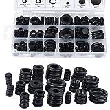 18 taglie 125PCS Kit assortimento anello anello guarnizione di tenuta in gomma nera per fili e cavi di protezione