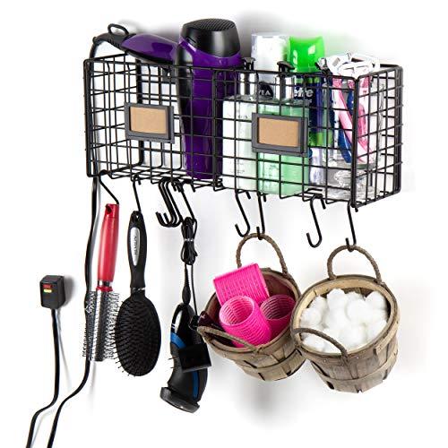 Wall35 Amalfi Bathroom Organizer Wall Mount Hair Products & Tool Storage Basket with 10 Hooks, Black