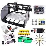 15W Laser Upgrade CNC 3018 Pro-M GRBL Control DIY Máquina de grabado CNC con placa protegida, Yofuly 3 ejes PCB PVC Area 300x180x45mm con varilla de extensión ER11 Collet Set