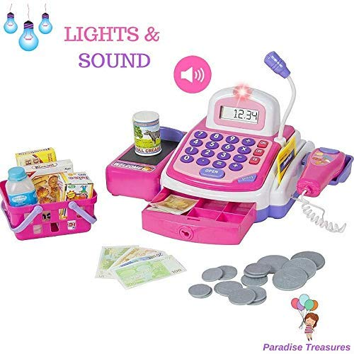 Paradise Treasures Electronic Cash Register Toy Scanner and Credit Card Reader Realistic Actions & Sounds Learning Toy Cash Register for Girls (26pc)