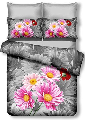 DecoKing 01219 Bettwäsche 200x200 cm mit 2 Kissenbezügen 80x80 Amarant 3D Microfaser Bettbezug Blumenmuster rosa Stahl grau anthrazit Urania