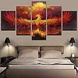 新しい キャンバスウォールアート150X80CM(フレーム)抽象キャンバス絵画モジュラーウォールアート5ピースファイヤーフェニックス鳥の写真リビングルーム家の装飾Hd印刷されたポスター-アールデコ絵画
