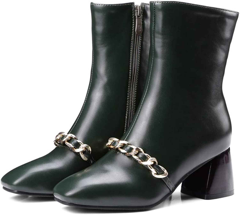 AVENBER Women Mid Calf Basic Boots Square Toe High Heels Zipper Metal Chain Fashion Rubber Short Plush shoes