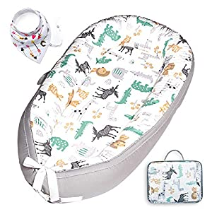 HONGTEYA Baby Lounger Baby Nest Newborn Lounger for Co Sleeping Portable Bassinet Mattress Baby Snuggle Nest Soft Adjustable Crib 100% Breathable Cotton Infant Lounger for 0-18 Months Gift(Animal)