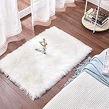 Cumay Piel de Imitación, Artificial Alfombra, excelente Piel sintética de Calidad Alfombra de Lana ,Adecuado para salón Dormitorio baño sofá Silla cojín (Blanco, 60 X 90 cm)