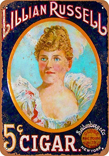 882 BOPNMJ Lillian Russell for Seidenberg Cigars 20 x 30 cm Vintage Metal Placa de pared Cartel para Cafe Bar Pub Bar Cocina o Tienda