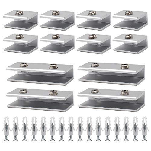 Abrazaderas Vidrio,RoadLoo 12 Piezas aluminio Abrazaderas de Cristal 6mm-8mm Espesor de Vidrio...