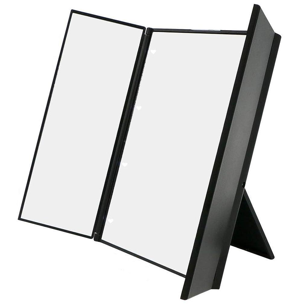 クラス野生フェミニン化粧鏡 卓上ミラー三面鏡 スタンドミラー LED付き 折りたたみ式 角度調整可能