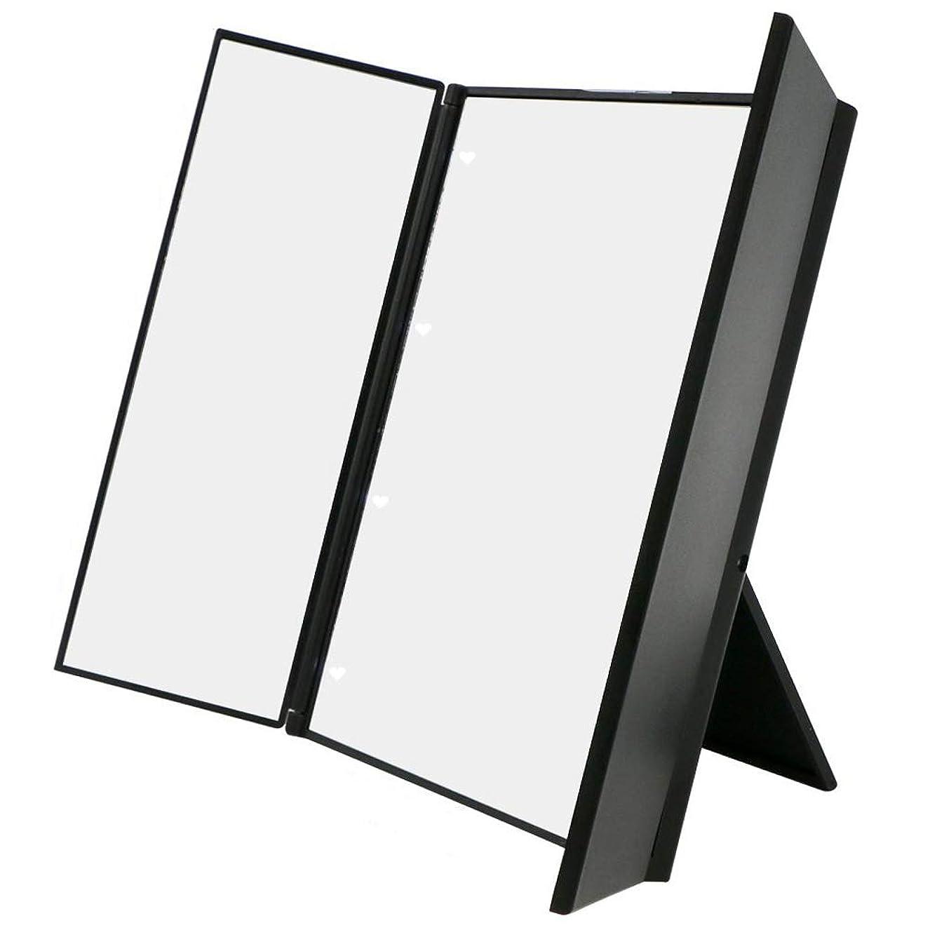 尽きる失業記念日化粧鏡 卓上ミラー三面鏡 スタンドミラー LED付き 折りたたみ式 角度調整可能