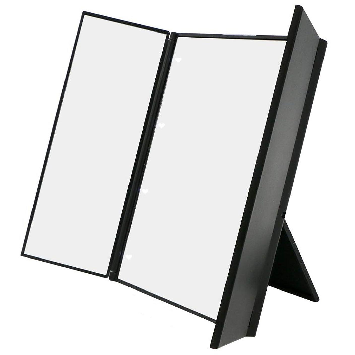 階ハブかんがい化粧鏡 卓上ミラー三面鏡 スタンドミラー LED付き 折りたたみ式 角度調整可能